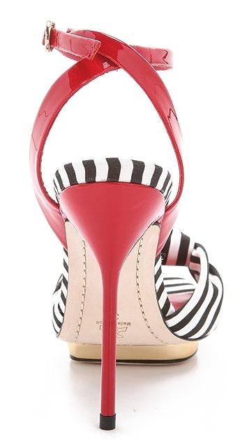 alice + olivia Petra Striped Sandals