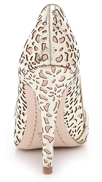 alice + olivia Dina Laser Cut Mirrored Pumps