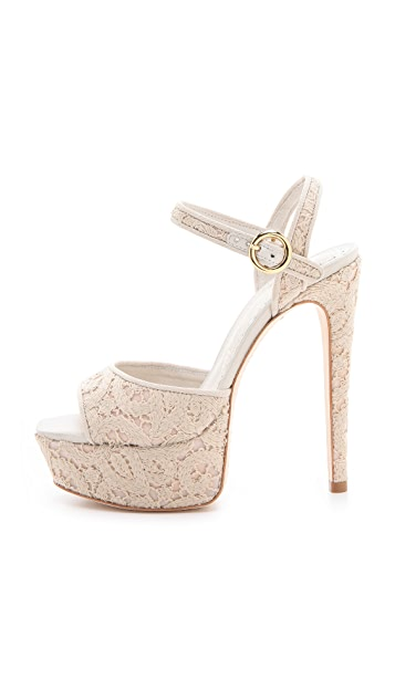 alice + olivia Lena Macrame Platform Sandals