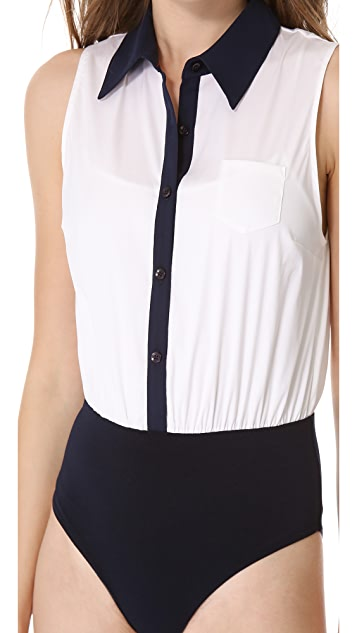 alice + olivia Sleeveless Combo Bodysuit