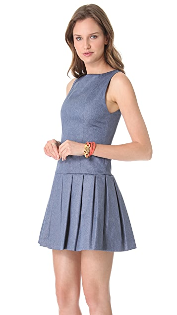 alice + olivia Drop Waist Chambray Dress