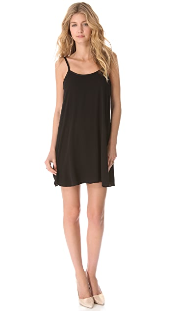 alice + olivia Low Back Dress with Leather Trim