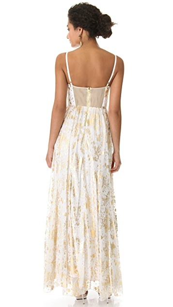alice + olivia Bustier Metallic Print Dress