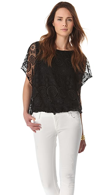 alice + olivia Lace Batwing Top