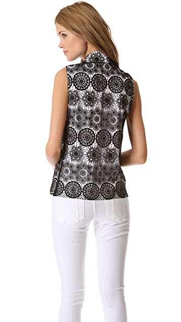 alice + olivia Lace Collared Shirt