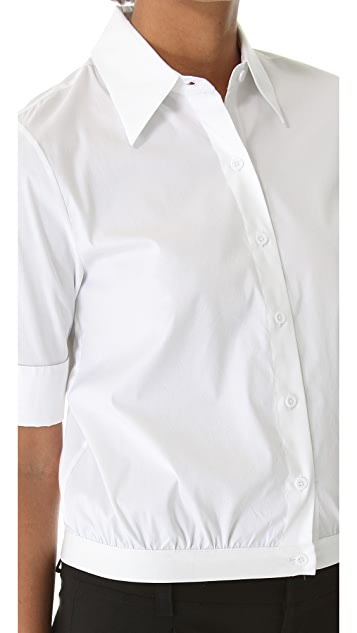 alice + olivia Cropped Button Down Blouse