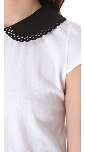 alice + olivia Margot Leather Collar Top