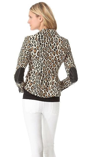 alice + olivia Elbow Patch Leopard Blazer