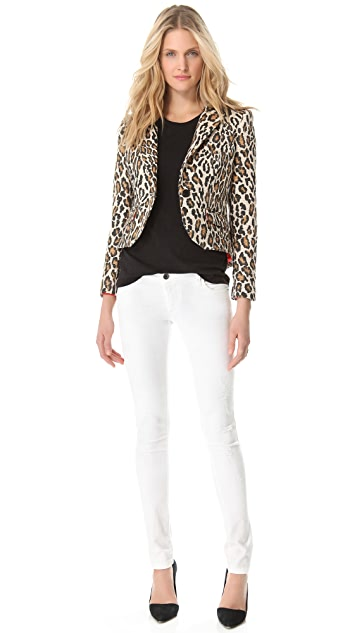 alice + olivia Elbow Patch Leopard Blazer