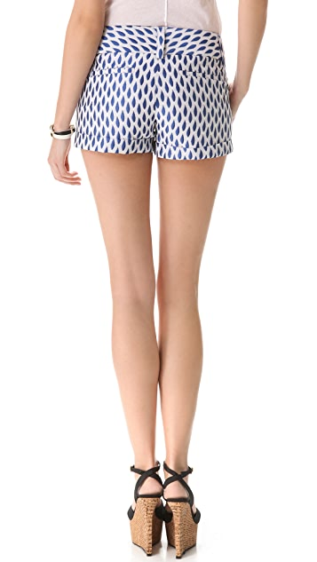alice + olivia Cropped Print Cuff Shorts