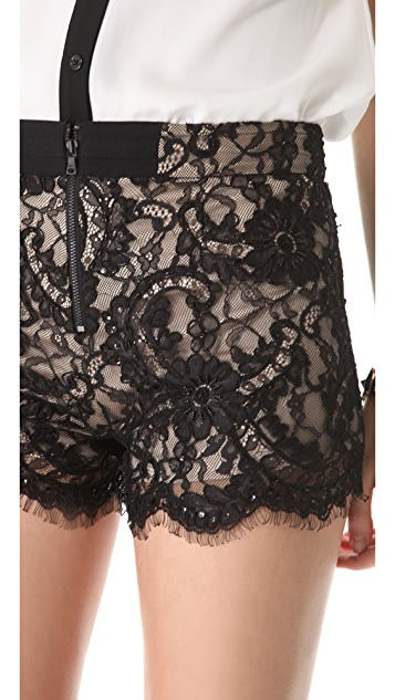 alice + olivia High Waisted Lace Shorts