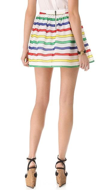 alice + olivia Belted Stripe Flare Skirt