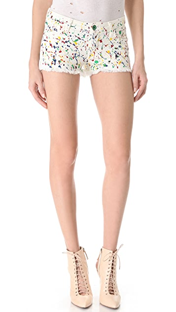 alice + olivia Splatter Cutoff Shorts