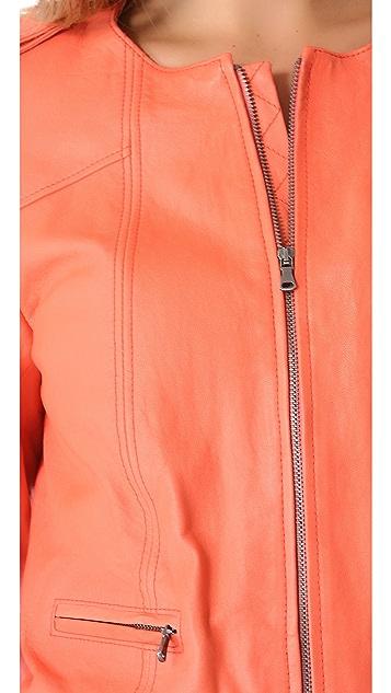 alice + olivia Zipper Sleeve Leather Moto Jacket