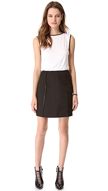 alice + olivia Leather Trim Dress