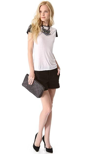 alice + olivia Anna Leather Sleeve Tee