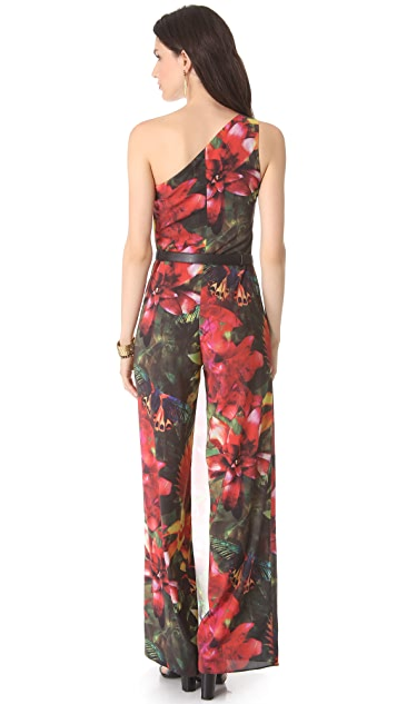 alice + olivia Tricia One Shoulder Jumpsuit