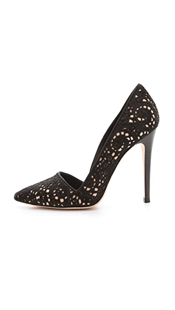 alice + olivia Dina Laser Cut Haircalf Pumps