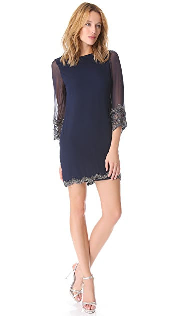 alice + olivia Frieda Scallop Hem Embroidered Dress