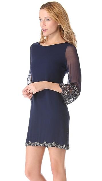 alice + olivia Frieda Scallop Hem Embroidered Dress
