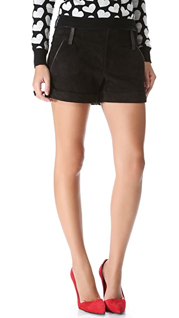alice + olivia Suede Cady Cuff Shorts