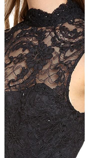 alice + olivia Patricia Short Feather Peplum Dress