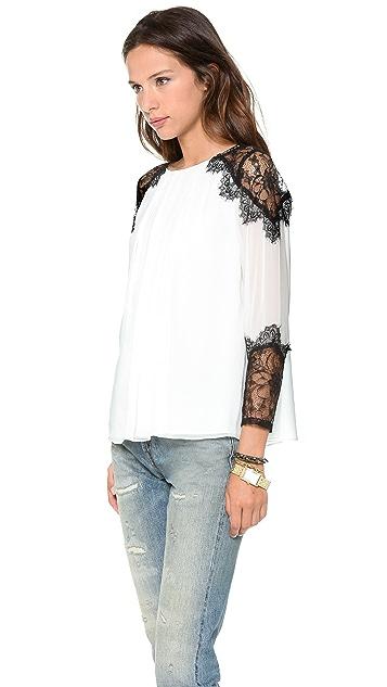 alice + olivia Danyelle Lace Shoulder Blouse