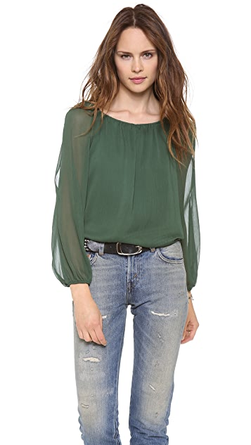alice + olivia Merrie Cutout Peasant Top