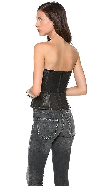 alice + olivia Jessi Leather Bustier Top