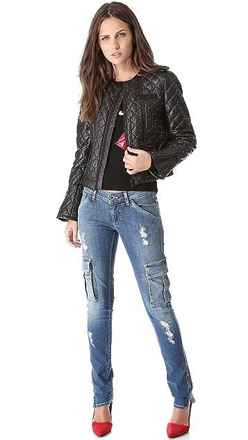 alice + olivia Siri Quilted Biker Jacket