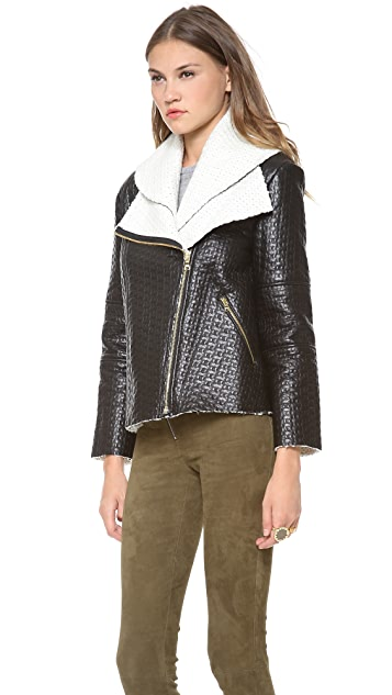 alice + olivia Carrie Double Collar Zip Jacket