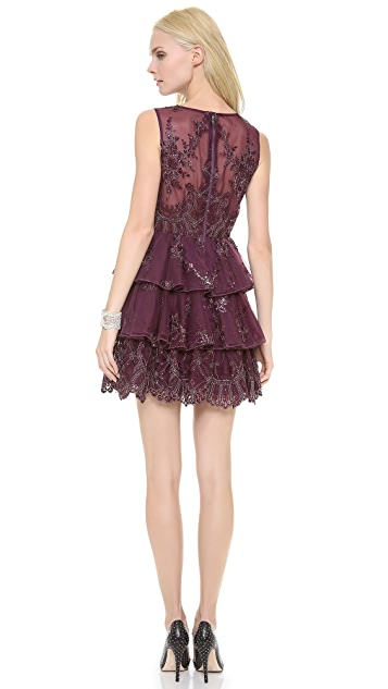alice + olivia Rowley Sheer Back Tiered Dress