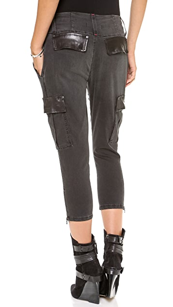 alice + olivia Washed Anders Cropped Cargo Jeans