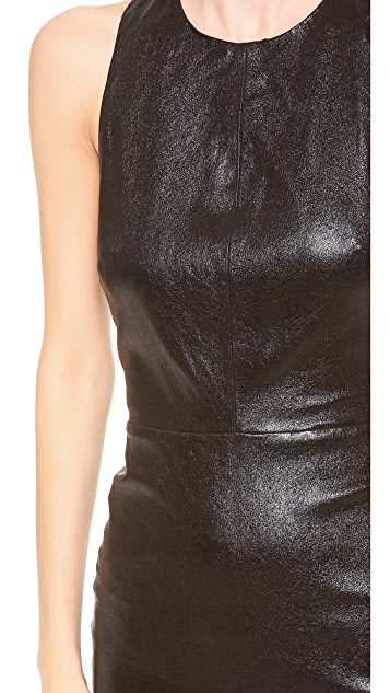 alice + olivia Layne Stretch Leather Fitted T Back Dress