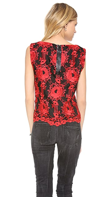 alice + olivia Skieler Boxy Sleeveless Top