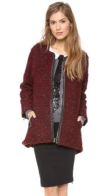 alice + olivia Jeanne Leather Trim Coat