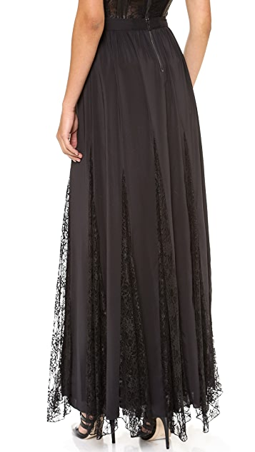 alice + olivia Louie Long Lace Godet Skirt