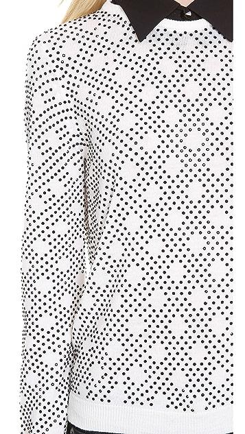 alice + olivia Mira Patterned Rhinestone Top