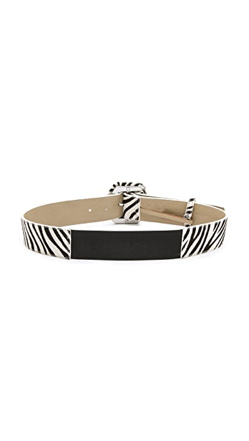 alice + olivia Hexagon Buckle Haircalf Belt