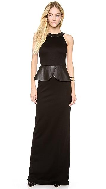 alice + olivia Karen Collar Peplum Gown