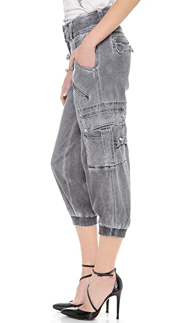 alice + olivia Smocked Crop Cargo Pants