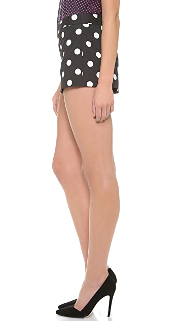 alice + olivia Back Zip Polka Dot Shorts
