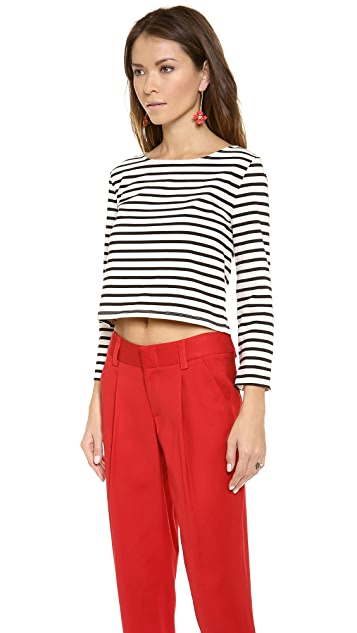 alice + olivia Rolled Sleeve Boxy Crop Top