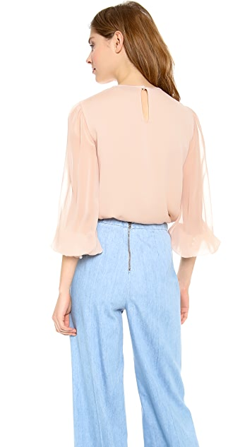 alice + olivia Liv Pleat Front Blouse