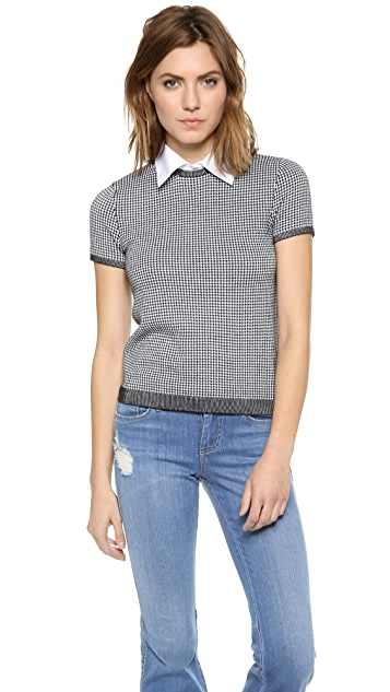alice + olivia Houndstooth Top with Collar