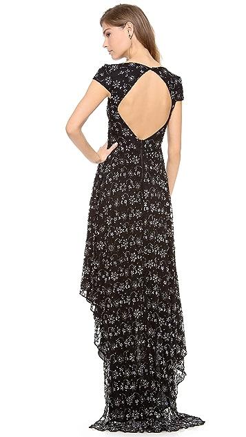 alice + olivia Glen Embellished Draped Gown