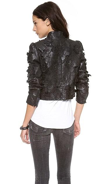 alice + olivia Zaiden Lasercut Leather Jacket