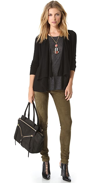 alice + olivia Cardigan with Leather Trim