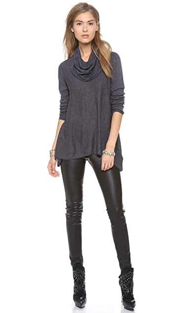alice + olivia Draped Cowl Neck Curved Hem Top