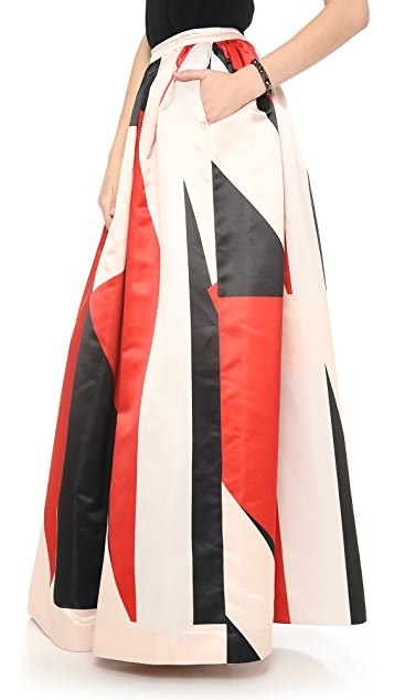 alice + olivia Abella Ball Gown Colorblock Maxi Skirt